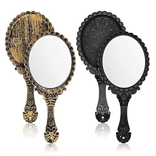 2 Piezas Espejo de Mano, Espejo de Tocador de Una Cara Espejo de Maquillaje con Mango de Patrón Retro Mini Espejo Ovalado Vintage Herramienta de Maquillaje para Mujeres Niñas