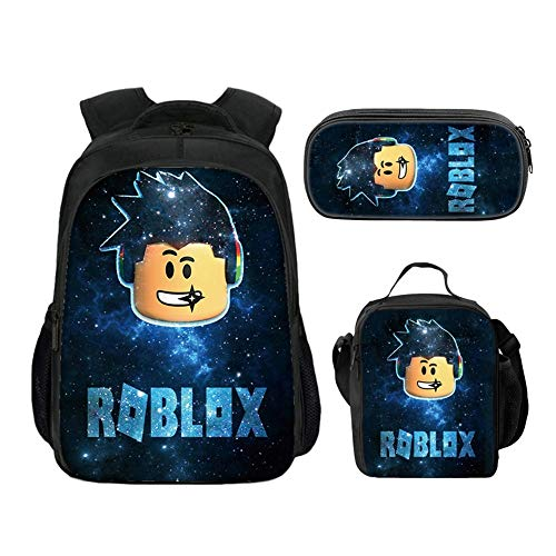 Roblox Backpack with Lunch Box & Pencil Case, Student Bookbag Shcoolbag Laptop Backpack Travel Computer Bag for Kids Boys Girls Teens (Color 5)