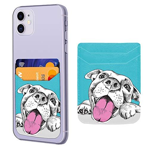 Retrato de un perro alegre titular de la tarjeta de crédito 3M adhesivo Stick en el bolsillo de la cartera para teléfono celular