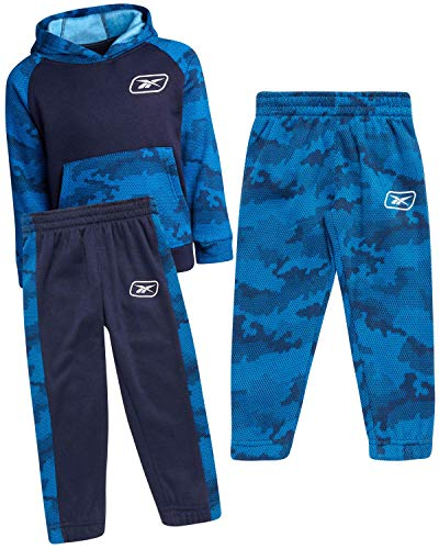 Reebok Toddler Boys' Jogger Set - 3 Piece Fleece Pullover Hoodie and 2 Jogger Sweatpants Set, Olive Fleece, Size 18M