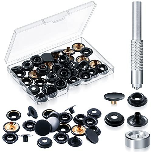 12 Sets Schnappverschluss-Kit, Druckknöpfe, Kleidung, Druckknöpfe mit 2 Stück Installationswerkzeuge für Taschen, Jeans, Kleidung, Stoff, Lederhandwerk (schwarz)