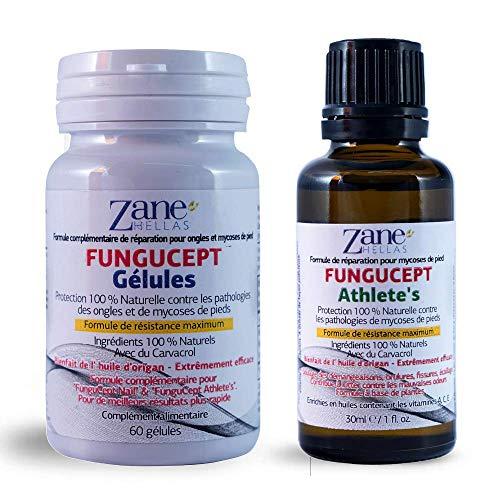 Zane Hellas FunguCept Advanced.Solution de réparation de l'athlète.Soulage les démangeaisons,les brûlures,les craquelures et le tartre.Arrêtez Bad Odor.Résultats visibles en 5 jours.30 ml & 60 gélules