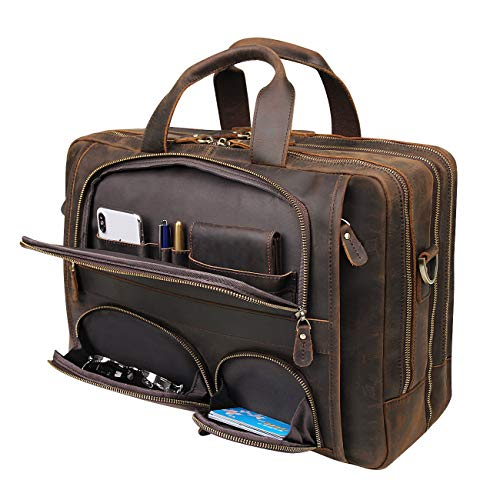 Augus Leather Briefcase Business Travel Duffel Bags for Men Laptop Bag fits 15.6 inches Laptop