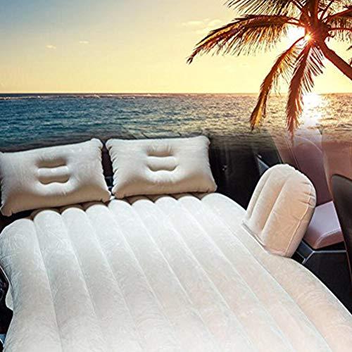 Nifogo Auto Travel aufblasbares Bett Luftmatratze Camping Rücksitz Verlängerte Matratze beflockt aufblasbares Auto Kissen Universal Auto Reisen Air Bett für Kinder (Cremeweiß)