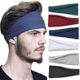 Ultrafun 6 Packs Sports Headbands Elastic Lightweight Workout Bandana Sweatbands Unisex Moisture Wicking Hairband for Yoga Running Cycling Gym Exercise (6Pack-Men)