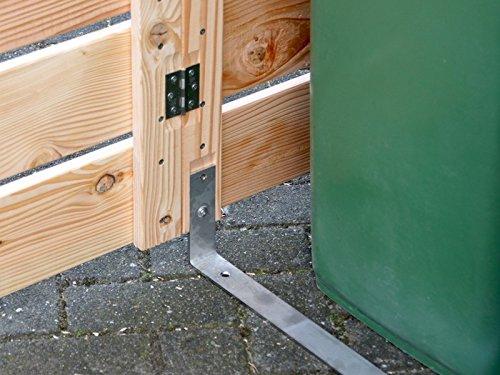1er Mülltonnenbox / Mülltonnenverkleidung 120 L Holz, Grau Geölt - 6