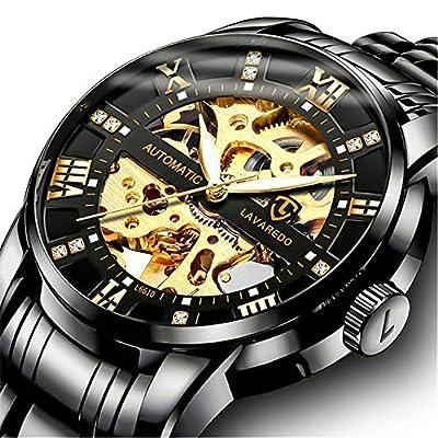 Relojes, Relojes Hombre Mecánico Automático Esqueleto Estilo Clásico Impermeable Números Romanos Esfera Reloj de Los Hombres con Correa de Acero Inoxidable