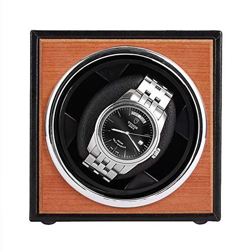 Cajas giratorias Fuente de alimentación USB Caja de bobinado de reloj mecánico negro Agitador de motor Mini reloj Joyas de exhibición de soporte de enrollador Organizador de almacenamient(Color:Negro)
