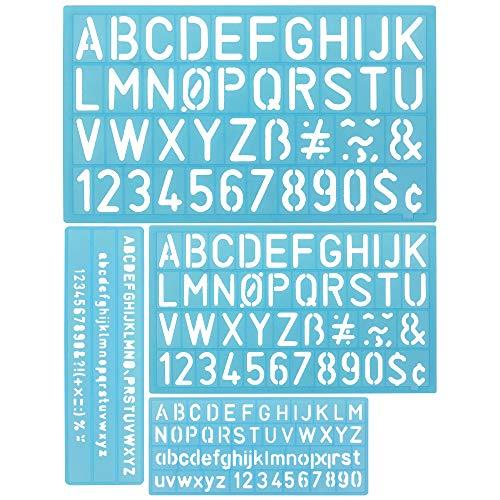DECARETA 4 PCS Buchstaben Schablone Kunststoff Buchstabenschablonen Zahlenschablonen Alphabet Schablonen Set Blau Zeichnungsvorlagen Kunststoffvorlagen für Bullet Journals, Malerei (Zufällige Farbe)