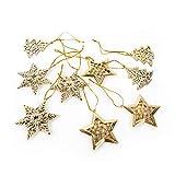 Logbuch-Verlag - 9 ciondoli natalizi dorati a forma di albero di Natale con stella, fiocco di neve, decorazione natalizia
