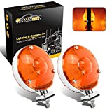 Partsam 2Pcs LED 4' Round Double Face Star Led Turn Signal Lights Chrome Amber 24 Diodes, Double Face Star Led Pedestal Lights, Dual Face Led Truck Trailer Lights