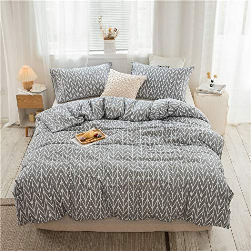 VClife Geometric Duvet Cover Cotton Full/Queen Gray Duvet Cover Sets for Boys Girls White Herringbone Duvet Covers with Zipper Closure for All Seasons (3 Pieces, Queen)