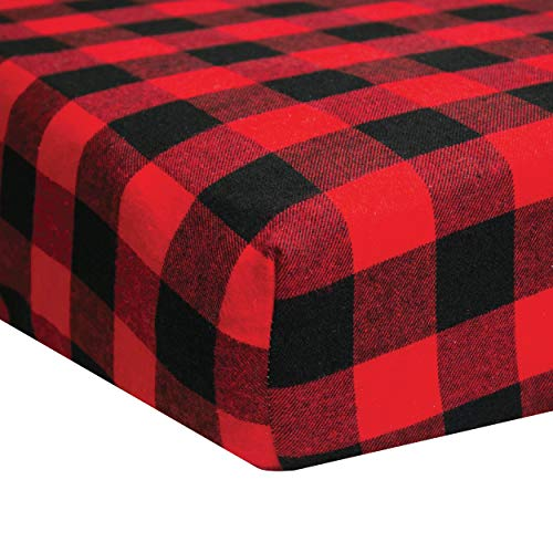 Dear Baby Gear Deluxe Crib Sheet, Flannel Lumberjack Red and Black Buffalo Plaid