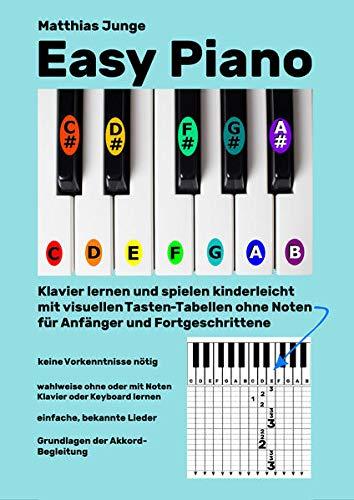 Easy Piano: Klavier lernen und spielen kinderleicht mit visuellen Tasten-Tabellen ohne Noten für Anfänger und Fortgeschrittene