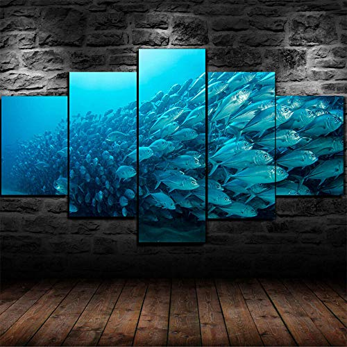 TOPRUN Cuadros Decoracion Salon Modernos 5 Piezas Lienzo Peces Submarinos Buceo Mar Océano HD Abstracta Pared Modulares Sala De Estar Impresión Artística Dormitorios Decoración De Pared Póster
