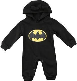 yiguanguan Baby Jungen Body Batman Strampler Herbst Langarm Baby Kapuze Einteiler Outfits Kleidung Neugeborene Säugling 0-24 Monate