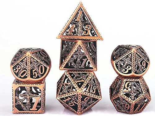Schleuder Dadi D&D Set Dungeons & Dragons, Dadi Gioco di Ruolo Poliedrici Dadi Metallo Cavo, Pathfinder Gioco di Ruolo da Tavolo (Nichel Nero)