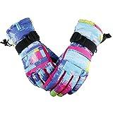 EVBEA - Guantes de esquí térmicos para niños y niñas para temperaturas de -5 ºC, impermeables, elásticos y cálidos para invierno, Mujeres-Rosa&Azul, small