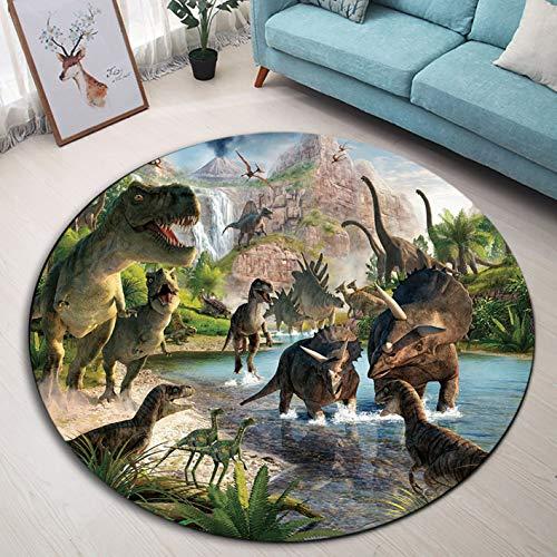 LB Dinosaurio Alfombra Redonda Animales Antiguos,Lago,Montaña,Bosque Tropical Interior Alfombra de Juego de...