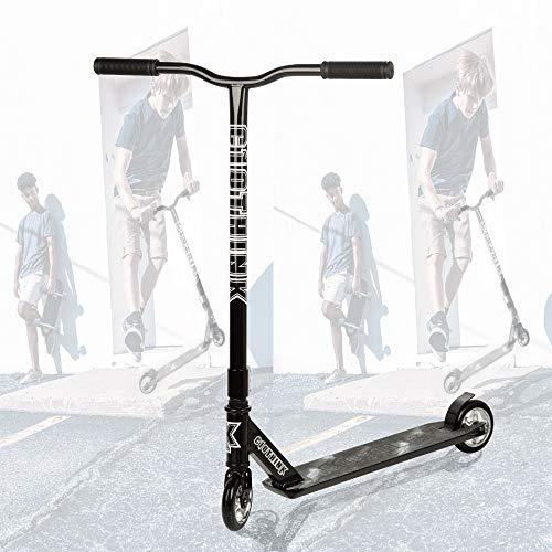 Clothink Stunt Scooter Schwarz - High End Pro - Funscooter Stunt Roller mit ABEC 9,110 mm PU Räder, bis 100 kg, Kickscooter für Kinder Erwachsene ab 7 Jahren(für 110cm bis 185cm)