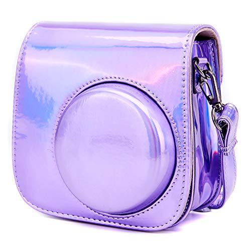 Annle Tasche für Fujifilm Instax Mini 8 / Mini 9 Sofortbildkamera aus Weichem Kunstleder mit Schulterriemen und Tasche (Bright Purple)