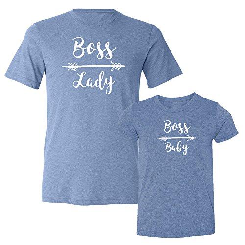 我们匹配!!- 老板的夫人和老板宝贝 - 匹配双Triblend T恤套装(2T T恤,T恤2XL,蓝,白打印)