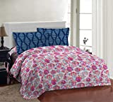 Bombay Dyeing Fair Mist Pink Geometric Double Bedsheet with 2 Pillow Cover Set (DSN-03)