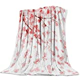 Singingin Ultra Soft Flannel Fleece Bed Blanket Cherry Blossom Throw Blanket All Season Warm Fuzzy Light Weight Cozy Plush Blankets for Living Room/Bedroom 40x50in