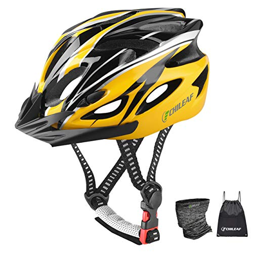 CHILEAF Casco da Bicicletta Sicurezza Sport della Bici con Visiera - Integrated Mountain Bike Bicycle Riding Helmet - 18 Vents Doppio in-Mould per Casco Bici Adulto 56-64 cm (Giallo-Nero)