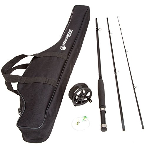 Fly Fishing Rod and Reel Combo – Fishing Line, Flies, Carrying Case Included – Charter Series Gear and Accessories by Wakeman Outdoors (Black) , 35""