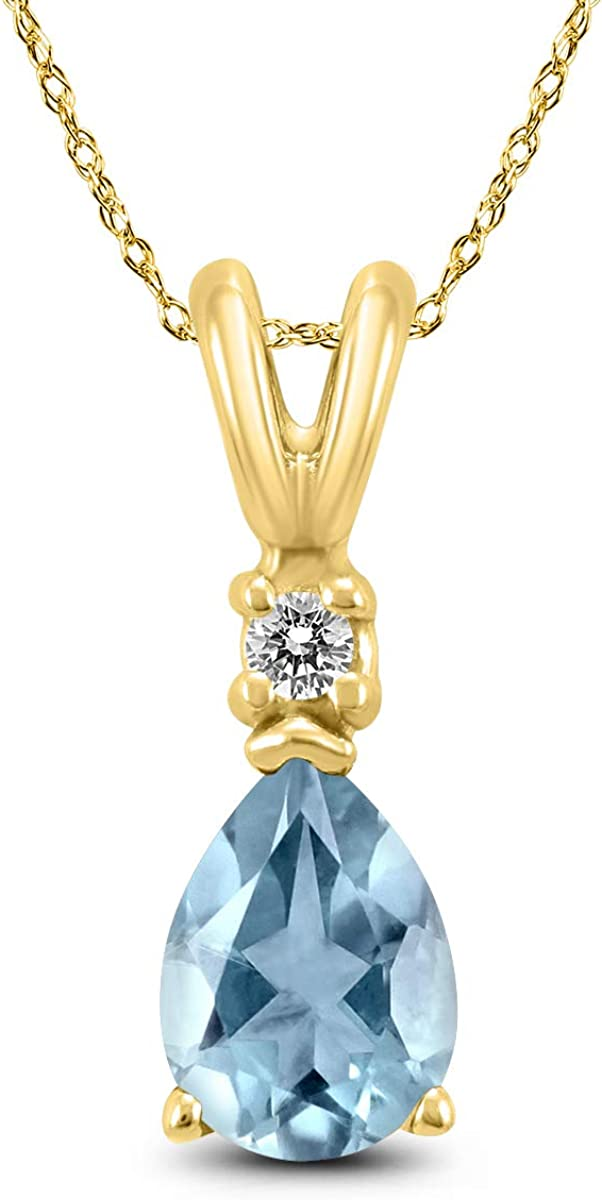 discount 14K Yellow Gold 6x4MM Pear Diamond Super sale period limited and Aquamarine Pendant