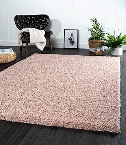 the carpet Port - Alfombra moderna de pelo largo para salón, suave hilado, color rosa, tamaño: 160 x 220 cm