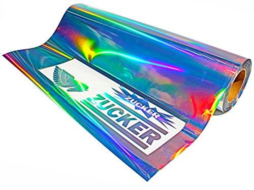 Finest-Folia Clear Back Plottfolie Oilslick (11,94€/m²) Hologramm Silber Glitter Effekt Folie Plotterfolie (5 Meter, 63)