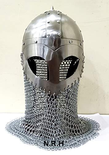 Nautical Replica Hub Viking Medieval Armor Chainmail Mask Helmet 18 Gauge Steel