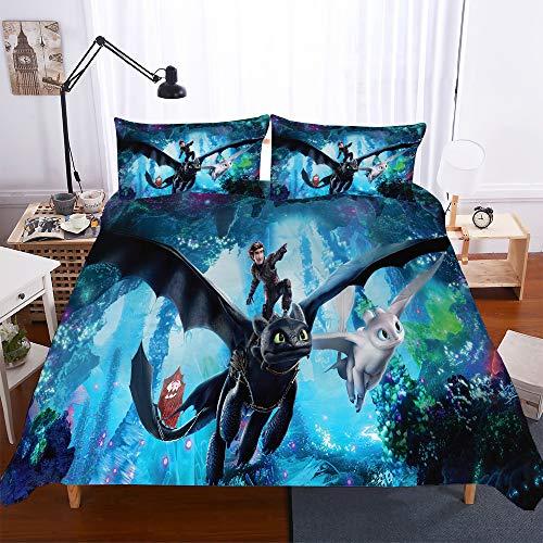 YOMOCO How to Train Your Dragon Bettbezug Bettwäsche Set - Bettbezug und Kissenbezug,Mikrofaser,3D Digital Print dreiteiliger Bettwäsche (03,Single 135x210cm)