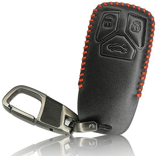 FoilsAndMore Funda Compatible con Audi Llave de Coche con 3 Botones SmartKey (sólo Keyless-Go) - Piel Cubierta Protectora Cover Caso Clave in Negro Rojo
