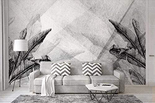 3D Wandtapete Schwarzweiss Blatt geometrische Dekoration Wandmalerei 3D Wandfoto Wandwand 250X175cm