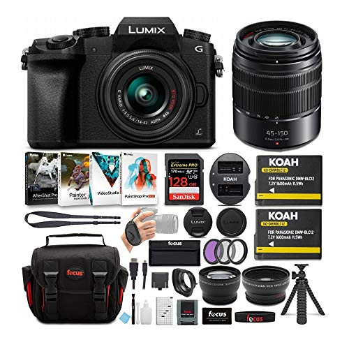 Panasonic LUMIX G7 Mirrorless Camera (Black) with Lens and Accessory Bundle