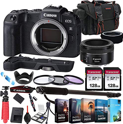 Canon eos rp mirrorless camera with ef 50mm f/1. 8 stm prime lens + 256gb memory + extension grip + photo editing software + commander optics accessory bundle (27pcs)