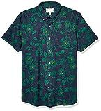 Amazon Brand - Goodthreads Men's Standard-Fit Short-Sleeve Printed Poplin Shirt, Black Line Floral Large