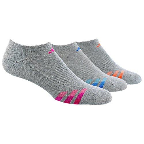 adidas Women's Cushioned No Show Sock (3 Pack), One Size, Heather Light Onix/Bold Pink/Shock Blue/Intense Orange