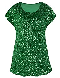 Green Loose Bat Sleeve Party Tunic Tops