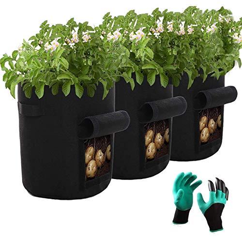 HIQE-FL Übertopf Vliesstoff Pflanzsack,Pflanzsack 7 Gallonen,Kartoffelsack Pflanzsack,Potato Plant Bag,Kartoffel Pflanzsack Vlies,Stoff Töpfe,Erdbeere Pflanzsack,and Gardening Gloves