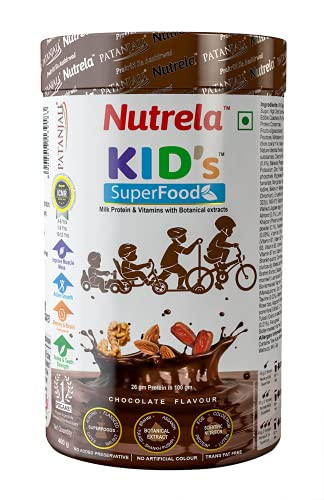 Nutrela Kids Super Food - Balanced nutrition drink supplement for active growth - 4-13 yrs - 400gm (Chocolate Flavour)