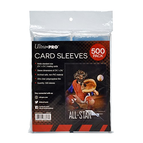 Ultra PRO Clear Card Sleeves for Standard Size Trading Cards measuring 2.5' x 3.5' (500 count pack)