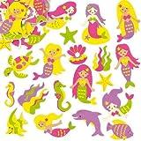 Pegatinas de Espuma con Diseños de Sirena para Decorar Tarjetas, Cuadernos, Manualidades y Collages Infantiles (Pack de 12)
