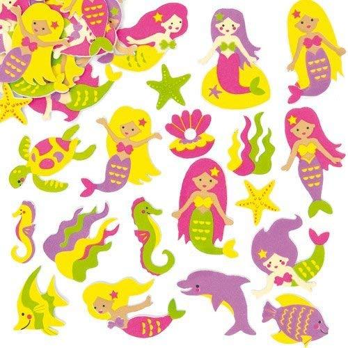 """Baker Ross AF442 Moosgummi-Aufkleber """"Meerjungfrauen"""" für Kinder zum Gestalten und Verzieren von sommerlichen Karten, Bastelarbeiten und Collagen (120 Stück), Kunststoff"""