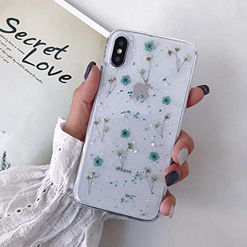 Funda Transparente para teléfono con Purpurina de Flores secas en Caliente para Apple iPhone 6 7 8 Plus X XS XR MAX 11 Pro 12 Mini Funda Transparente con Estrella epoxi-para_iPhone_6_6S_Blue