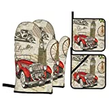 Set 4 guanti da forno e presine,Giornale London Travel Wallpapervintage,Guanti da cucina resistenti al calore per cucinare,cuocere al forno,grigliare,barbecue