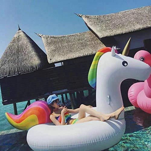 Jasonwell Aufblasbar Einhorn luftmatratze Riesiger Aufblasbarer Einhorn schwimmtier Schwimmen schwimminsel schwimmreifen Pool Spielzeug Floß Schwebebett wasserspielzeug XL Strand Kinder Erwachsene